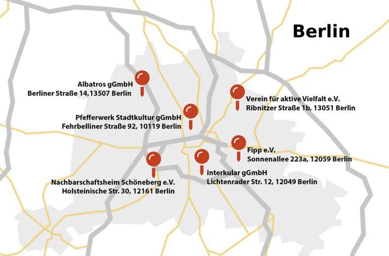 Karte mit Projektstandorten
